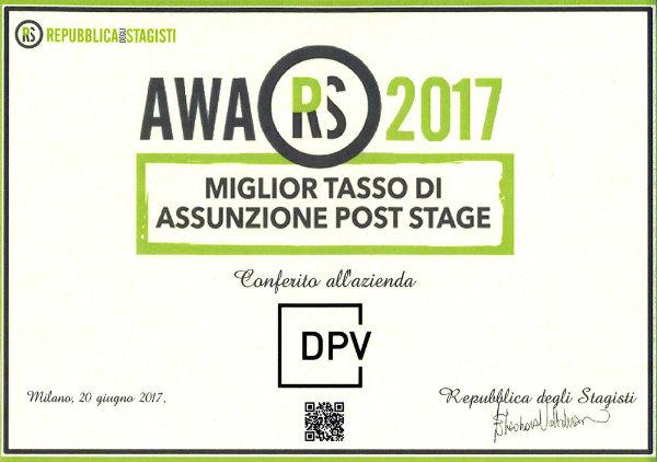 Stage | DPV ha vinto il premio di Repubblica degli Stagisti